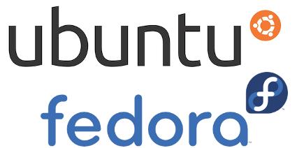 ubuntu and fedora logos